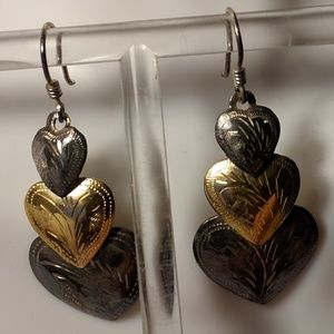 Jewelry - Vintage Sterling Silver Gold Long Heart Earrings